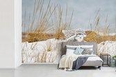 Fotobehang Camouflage patroon - Sneeuwuil met gecamoufleerd patroon fotobehang vinyl breedte 390 cm x hoogte 260 cm - Foto print op vinyl behang (in 7 formaten beschikbaar) - slaapkamer/woonkamer/kantoor
