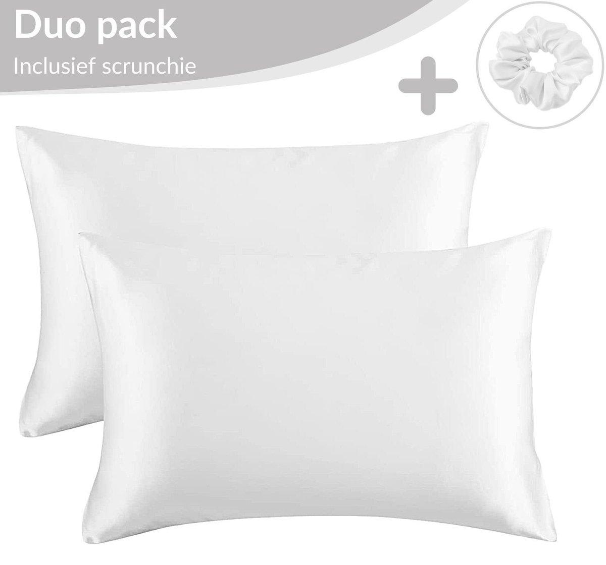 Satijnen Kussensloop Beauty Anti Allergeen - Huidverzorging - Haarverzorging - Wit - 50 x 60   2 Stu