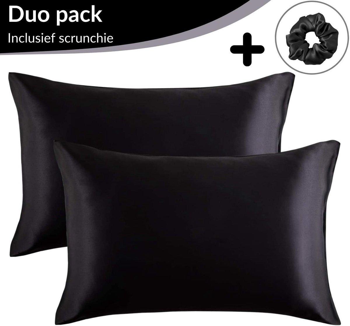 Satijnen Kussensloop Beauty Anti Allergeen - Huidverzorging - Haarverzorging - Zwart - 60 x 70   2 S
