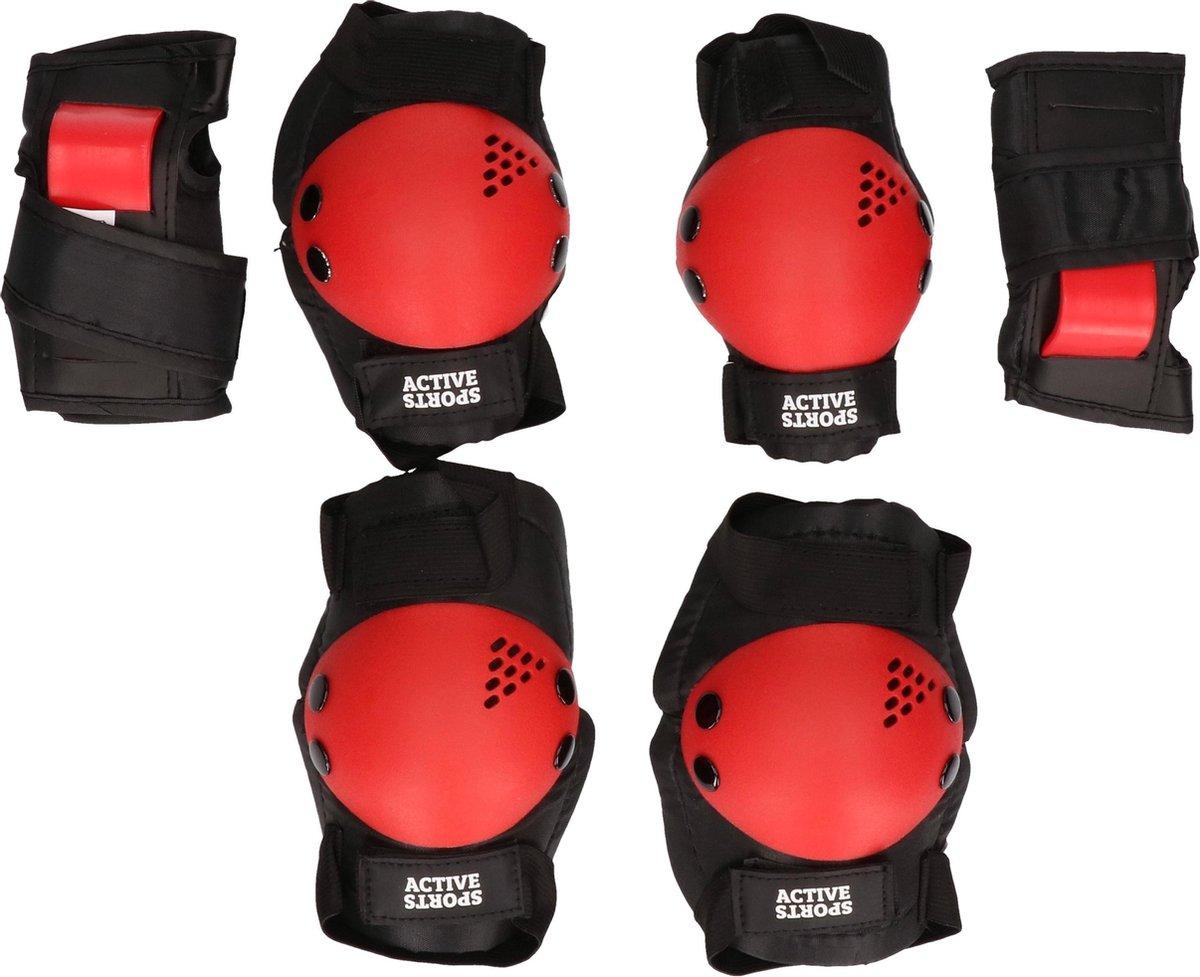 Zwart/rode beschermers set voor kinderen - Valbeschermers voor jongens/meisjes - Bescherming bij rolschaatsen/skaten/skeeleren/steppen S (7-9 jaar)