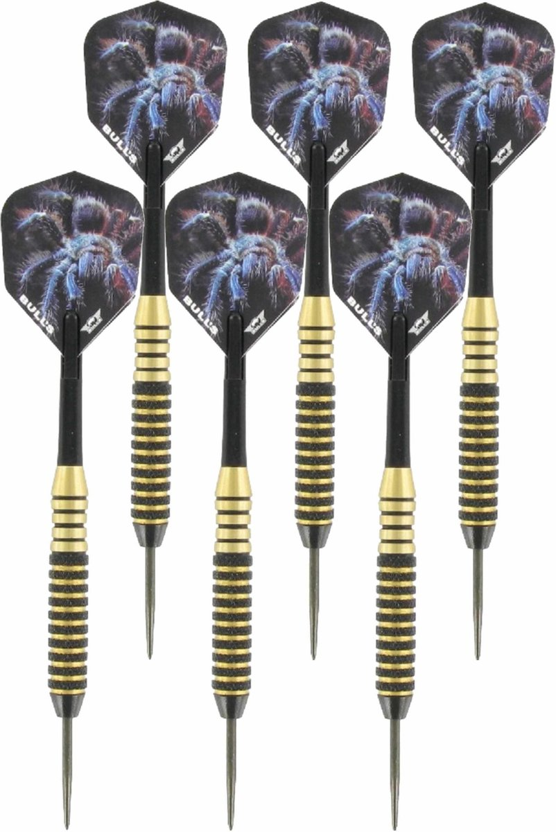4x Set van 3 dartpijlen Tarantula Brass 22 grams - Darten/darts sport artikelen pijltjes messing