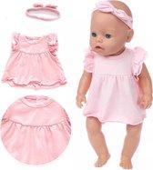 Poppenkleding meisje - Baby Born kleertjes o.a. - Poppenkleertjes 43 cm - Roze jurk met haarband - Gratis verzending