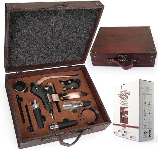Luxe Wijn Accesoires Set 9 in 1 - Wijn Cadeau Set - Kurkentrekker - Flesopener