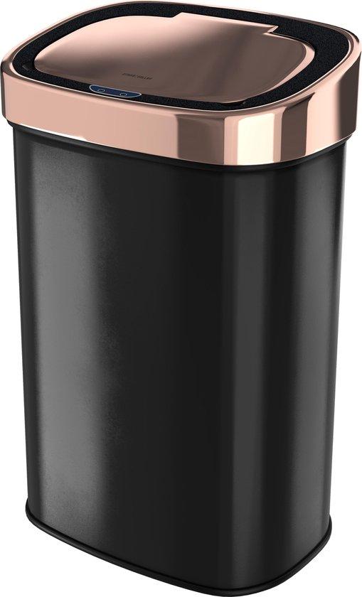 Stangvollby Nausta Sensor Prullenbak - 58 Liter - Zwart met Roségouden deksel - RVS - Soft close - Vingerafdrukvrij - Zwarte afvalbak met koperen rand - Hygiënische automatische deksel - Keuken Afvalemmer - Kantoor Vuilbak 60 liter - Elektrisch