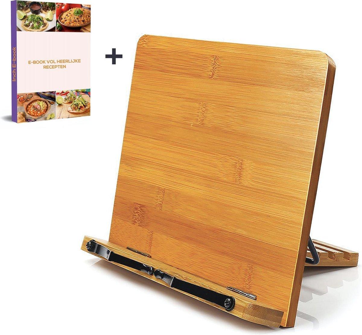 Bamboe Kookboek Standaard met Bladzijden Houders - Incl. E-book Vol Heerlijke Recepten - Inklapbaar