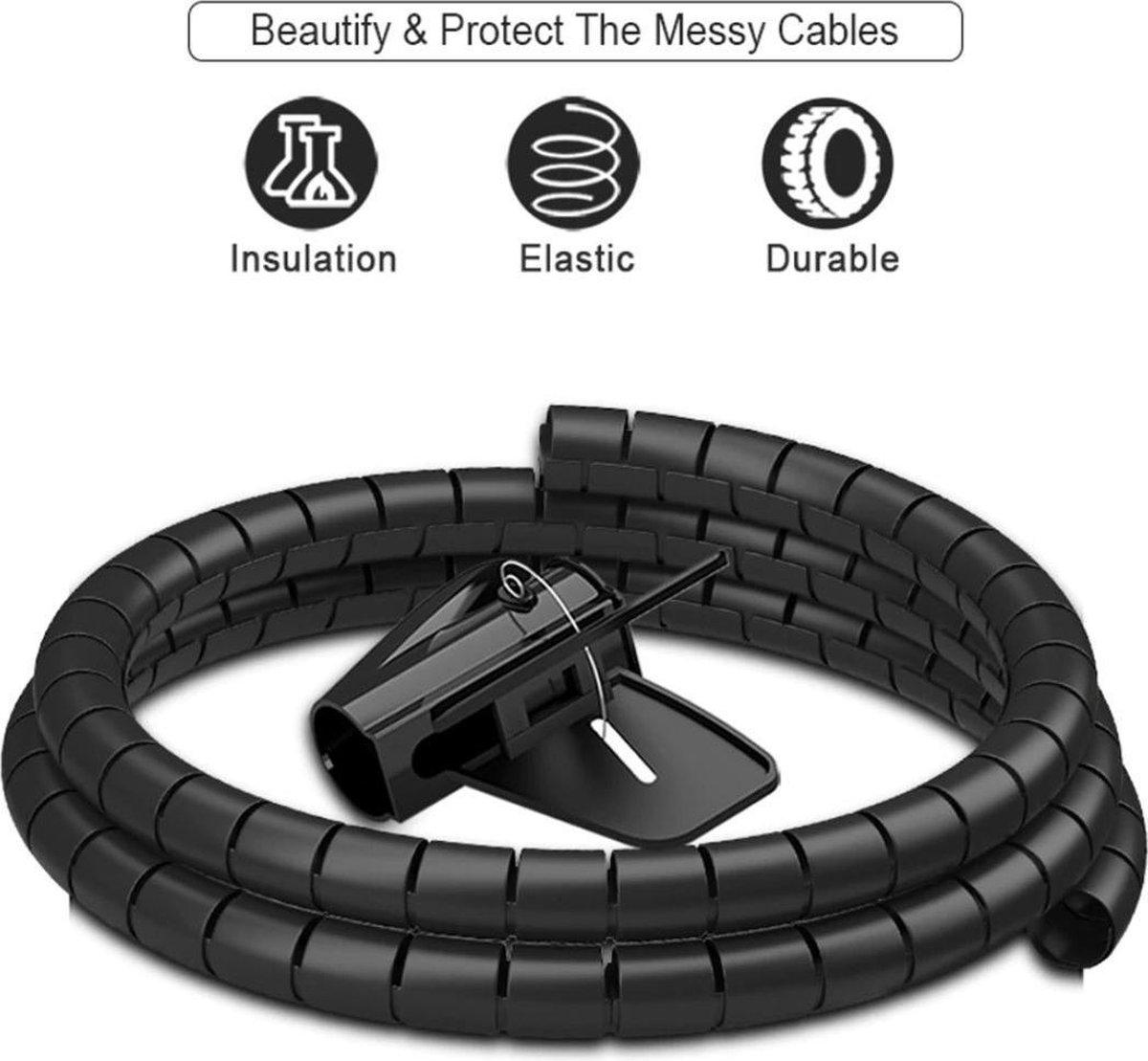 BukkitBow - Kabelslang - Spiraal voor Kabel Management - Kabel Organizer - Spiraalslang met Rijktool - 2 Meter - Zwart