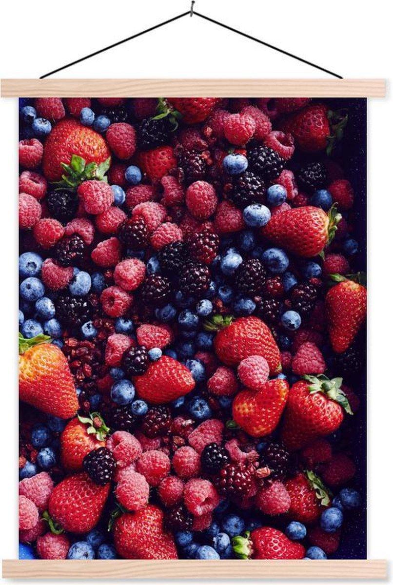 Stilleven fruit textielposter latten blank 60x80 cm - Foto print op schoolplaat (wanddecoratie woonkamer/slaapkamer)