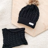 Baby Dutch muts en sjaal zwart