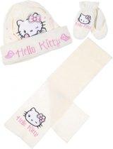 """Hello Kitty winterset - Handschoenen, Muts en Sjaal - Model """"Fluffy Kitty"""" - Roomwit - 48 cm - 100% Acryl"""