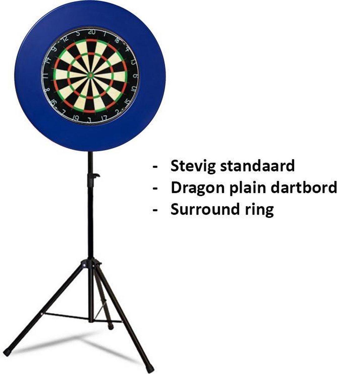 Dragon darts - Portable dartbord standaard pakket - inclusief best geteste - dartbord en - dartbord surround ring - blauw
