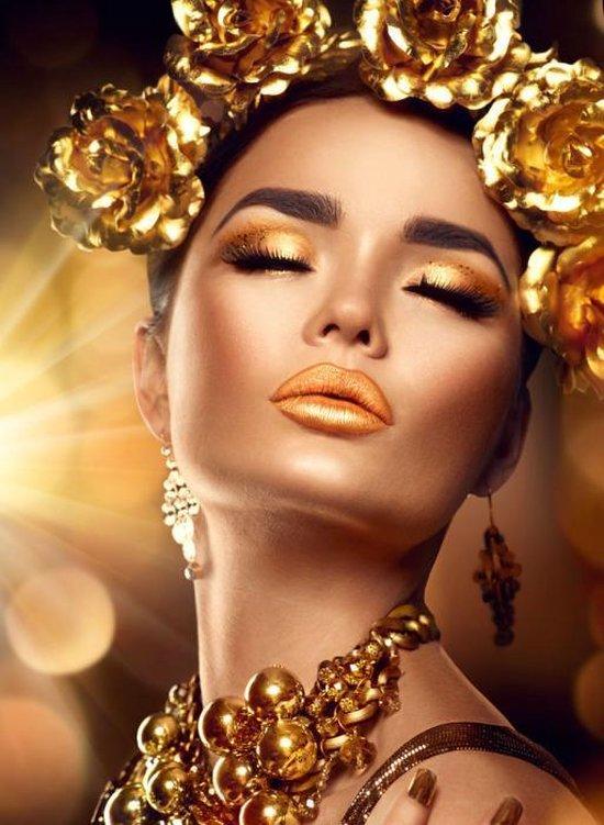 bol.com | Glasschilderij Vrouw 'Lady in Gold' - glasschilderij bloemen -  120 x 80 cm - goud ...