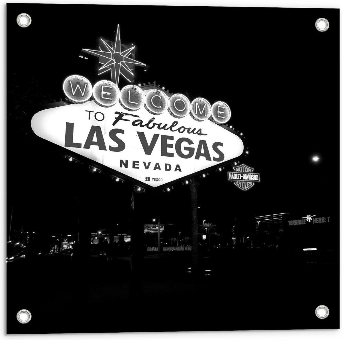 Tuinposter   Bord Las Vegas (zwart/wit) - 50x50cm Foto op Tuinposter  (wanddecoratie voor buiten en binnen)