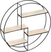 Wandrek rond - ø 55 x 11 cm - Industrieel - Metaal en MDF hout - 4 planken - Zwart metalen rek