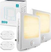 Hello Tomorrow® 2 st. Nachtlampje Stopcontact met Bewegingssensor voor Kinderen & Volwassenen - Babykamer - Warm Wit