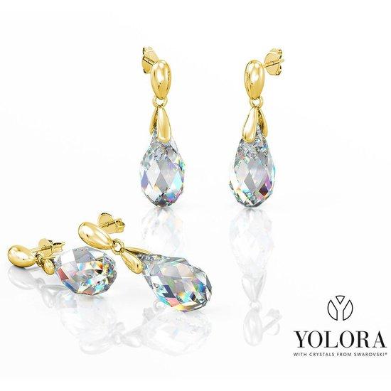 Yolora dames oorbellen met Swarovski kristal - 18K Geelgoud vergulde oorhangers - YO-E115-YG-AB