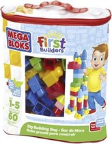 Afbeelding van Mega Bloks First Builders 60 Maxi Blokken Met Tas Blauw - Contructiespeelgoed speelgoed
