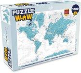 Puzzel 1000 stukjes volwassenen Trendy wereldkaarten 1000 stukjes - Lichtblauwe wereldkaart zorgt voor een oude uitstraling  - PuzzleWow heeft +100000 puzzels