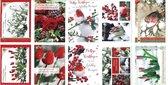 50 Luxe Kerst- en Nieuwjaarskaarten - 9,5x14cm  - 10 x 5 dubbele kaarten met enveloppen - serie Snow