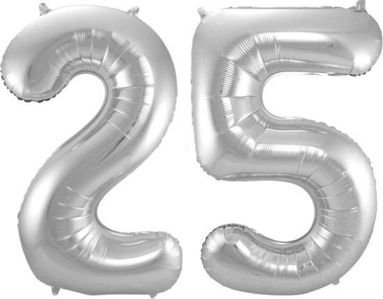 Ballon Cijfer 25 Jaar Zilver Verjaardag Versiering Zilveren Helium Ballonnen Feest Versiering 86 Cm XL Formaat Met Rietje