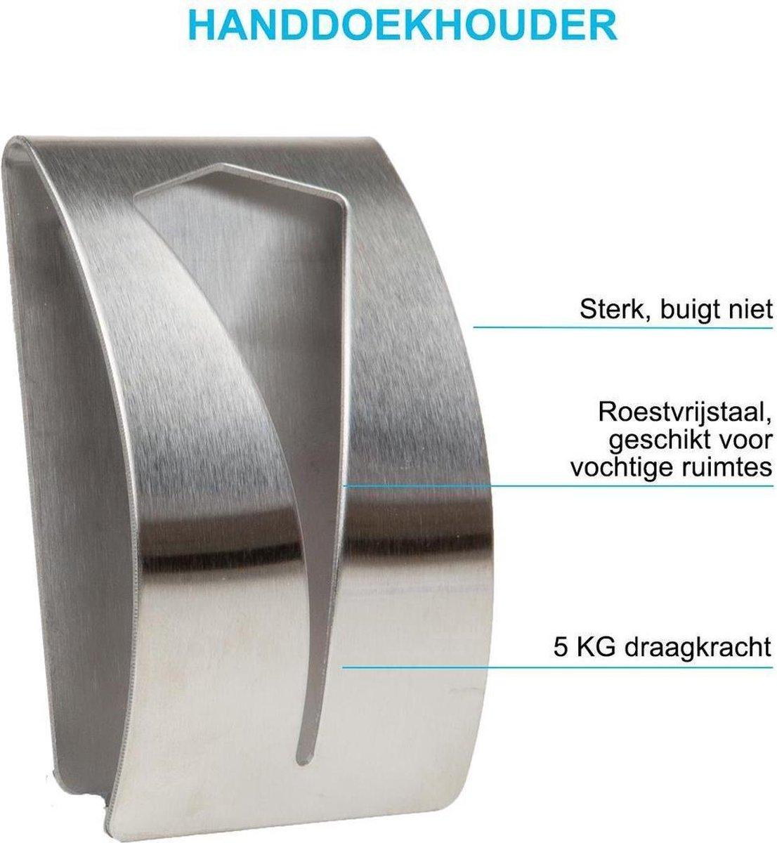 2 Stuks RVS Handdoekhouder - Zelfklevend - Design Handdoek - Handdoek Klem - Handdoek haak