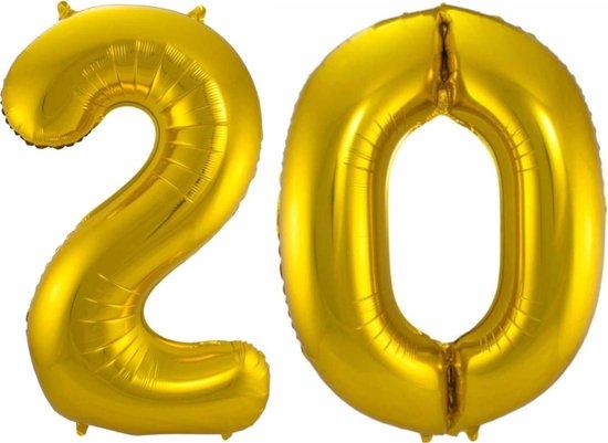 Ballon Cijfer 20 Jaar Goud Verjaardag Versiering Gouden Helium Ballonnen Feest Versiering 86 Cm XL Formaat Met Rietje