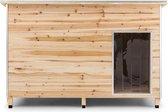oneConcept Kasteel Woef - hondenhok 120 x 90 x 90 cm - hondenhuis - hondenhut - geïsoleerde houten entree - waterdicht