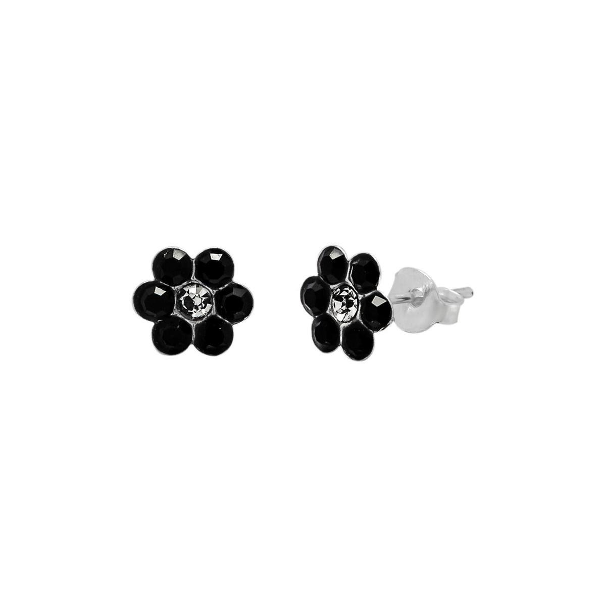 Oorbellen meisje | Zilveren oorstekers, bloem met 7 kristallen, diverse kleuren