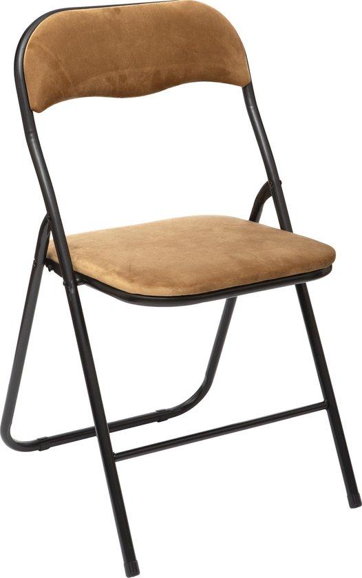 Atmosphera Vouwstoel velvet zitvlak en rug bekleed - stoel - tafelstoel - klapstoel - Oker - stoel - tafelstoel - klapstoel