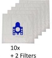 10x Stofzuigerzakken Voor Miele Complete C3 Silence (Ecoline Plus) Stofzuiger Modellen - Set Van 10 Zakken Met 2 Stuks Filter
