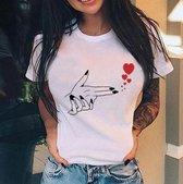 T-shirt hand met hartjes - dames - vrouw - kleding - mode - shirt - korte mouw - Dames T-shirt