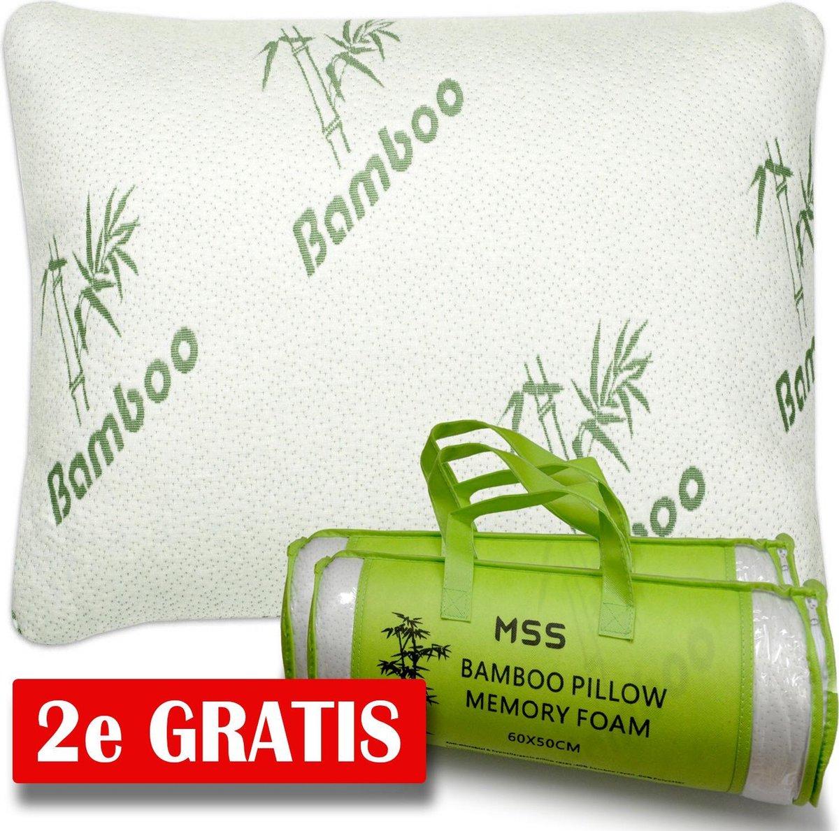 MSS - 2x Bamboe kussen | Origineel Bamboo Kussen 2x | Cool Comfort | Memory Foam| Zacht, Koel & Druk