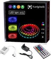 Y.Originals LED Strip - Top kwaliteit verlichting- 5 Meter- 150 LEDs/m- met 44 keys afstandsbediening- MET BATTERIJ– instelbaar op 20 verschillende kleuren- verschillende lichteffecten- dimbaar – lange levensduur- IP20- zelfklevend