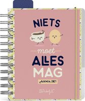 Afbeelding van Mr Wonderful do it yourself agenda 2021 - ringband - 16.5 x 14 cm - elastiek sluiting - lannoo - roze