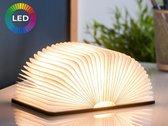 FOOCCA Boeklamp Hout – Boek Lamp Tafellamp - 8 Kleuren Licht – Extra Grote Accu - 1.5m USB kabel - Donker Hout 21.5x17 cm