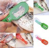 Duurzaam Visfileermes - Vis Schubben Schraper met Handig Opvangbakje en Uitklapbaar Scherp Fileer Mes - Blauw