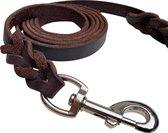 Hondenriem - 220cm – bruine riem - gevlochten leren hondenriem – 100% volnerfleer - hond