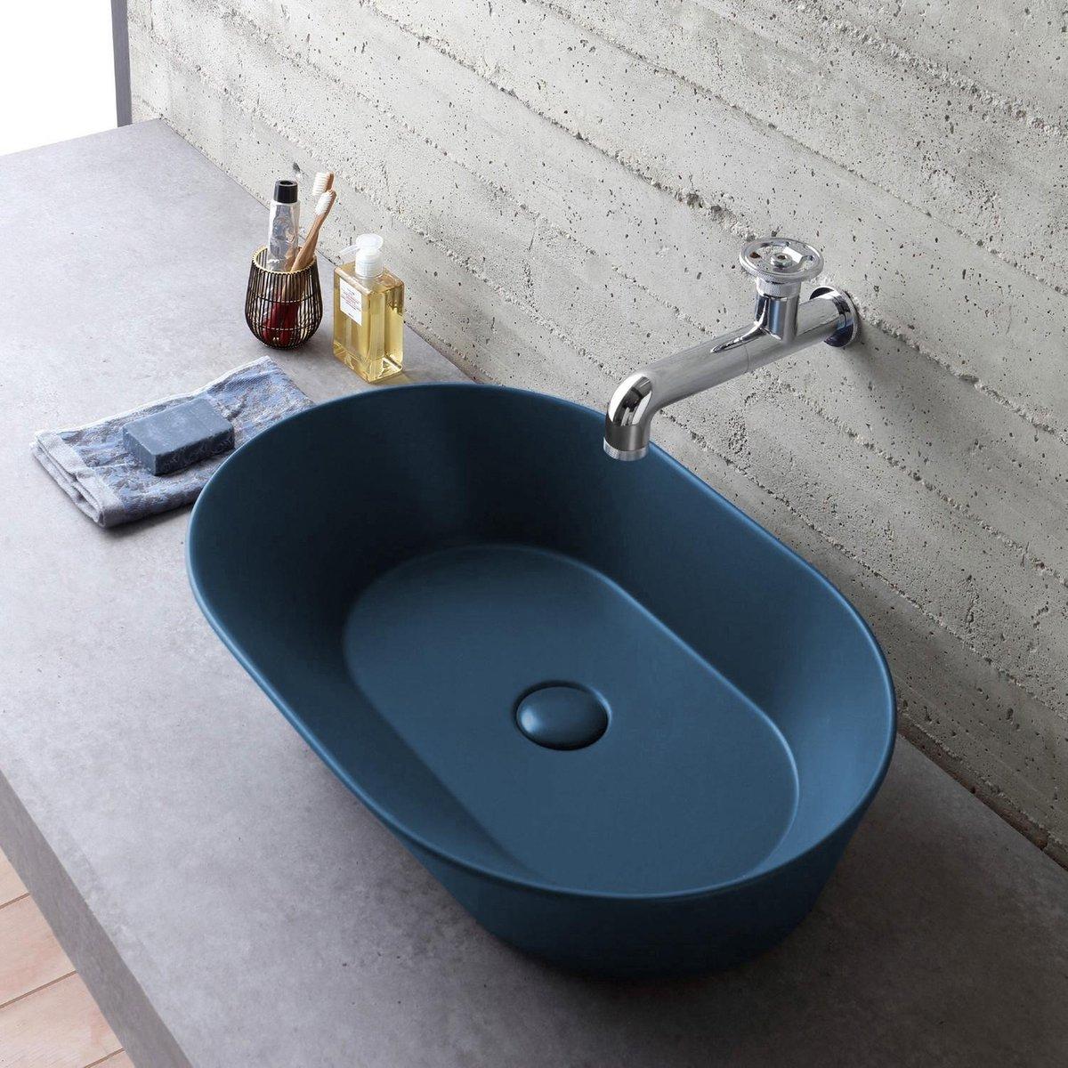Mees - Opbouw Waskom Ovaal 60x42x16.5 cm - Mat Blauw