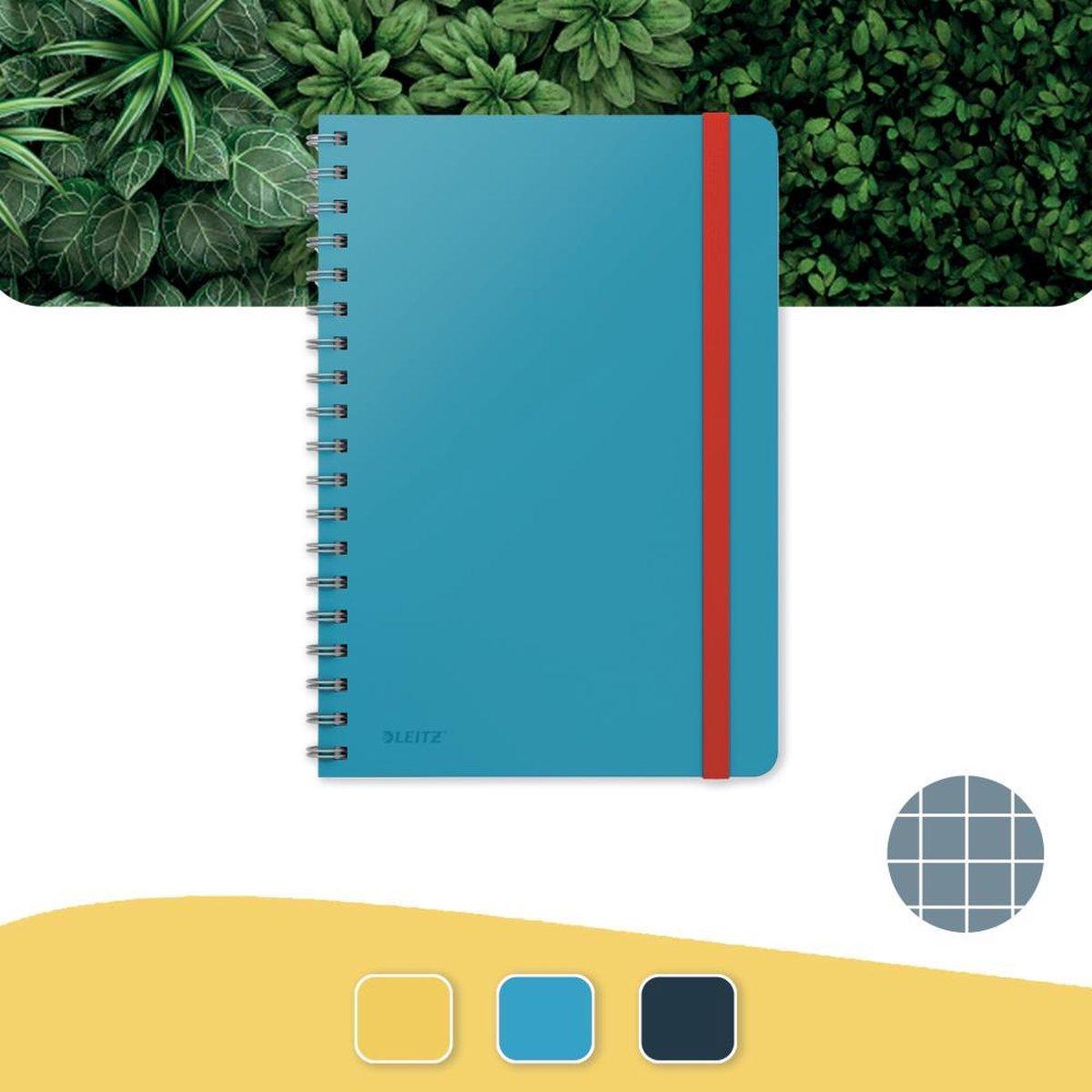 Leitz Cosy Notitieboek B5 Soft Touch Geruit - Notitieboek Hard Cover - Spiraalgebonden - Voor Kantoor En Thuiswerken - Sereen Blauw - Ideaal Voor Thuiskantoor