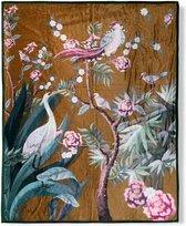 Heerlijk Zachte En Trendy Plaid Kraanvogel Oker | 130x160 | Multifunctioneel (Decoratie, Woondeken Of Sprei) | Teddy Stof