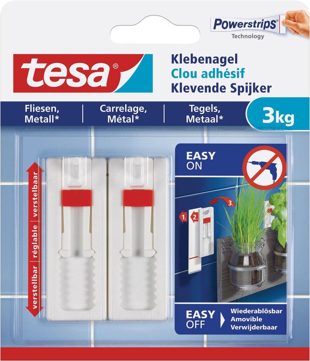 4x stuks Tesa klevende spijkers - wit - verstelbaar - draagkracht 3 kg