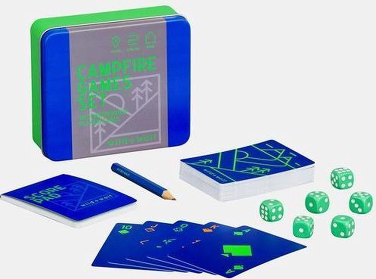 Wild+Wolf -Kampvuur spellen set - waterbestendige spelkaarten - dobbelstenen - scoreblok - in blik