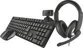 Trust Qoby 4-in-1 Thuiswerken bundel - Draadloos - Toetsenbord - Muis - Headset – Webcam