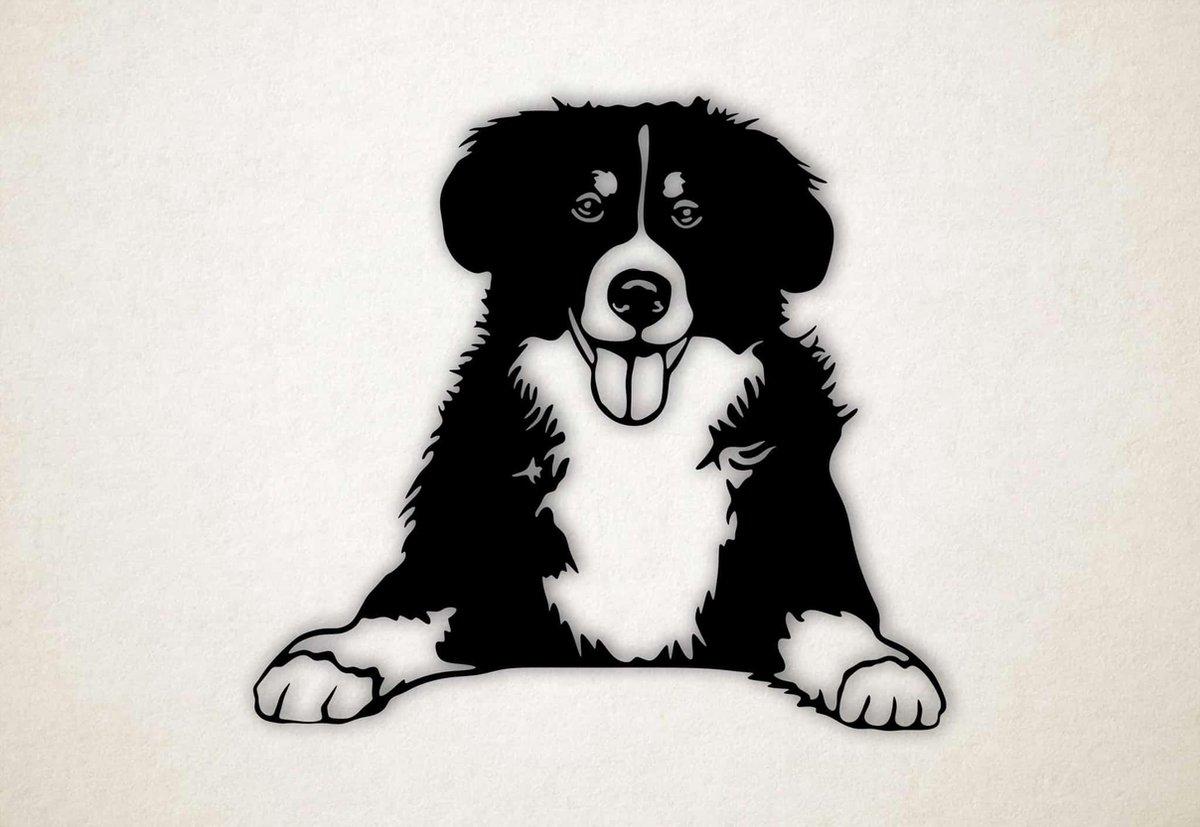 Wanddecoratie - Border Collie hond - L - 75x82cm - Zwart - muurdecoratie - Line Art