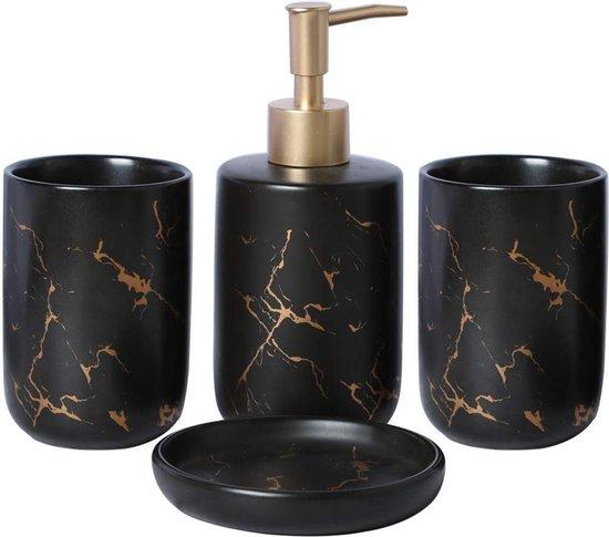 Badkamer Accessoires Set – Tandenborstelhouder –Zeeppompje Zeepbakje – Keramiek met Marmer Design – Zwart