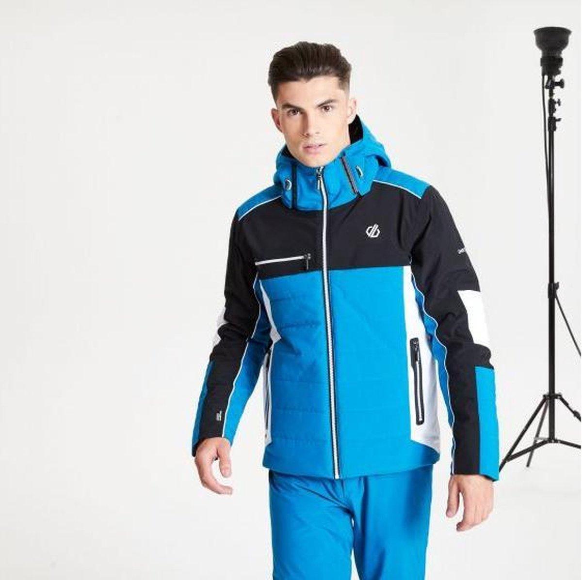 Dare2B Out Force Black Label waterdichte, geïsoleerde ski-jas met capuchon voor heren, ademende outdoorjas, petrolblauw zwart