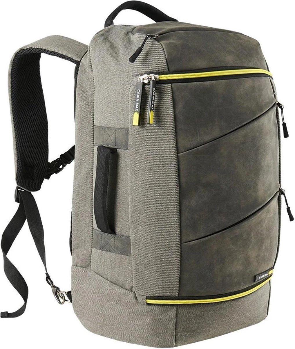 CabinMax Manhatten   Handbagage 38L   Rugzak   Compact Reistas   Lichtgewicht   Grijs/Geel