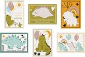 Verjaardagskaarten - Set van 12 x verjaardagskaart  - Kinderkaarten / Kinderen - Dinosaurus