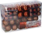 Christmas Gifts kerstballenset - 100 stuks - 3/4/6cm - Koper/Bruin