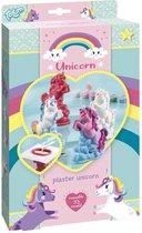 Totum Unicorn -maak je eigen eenhoorns met gips - gipsgiet & verfset voor 2 unicorns met regenboogkleuren - knutselset