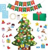 Fissaly® Kerstdecoratie Set inclusief Vilten Kinder Kerstboom, Versieringen, Verlichting & Merry Christmas Slinger - Kerstcadeau - Kinderen & Kind